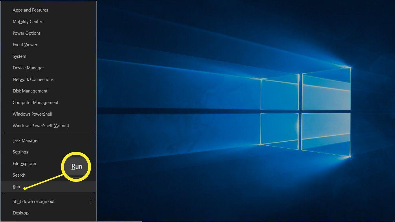Windows Run selection