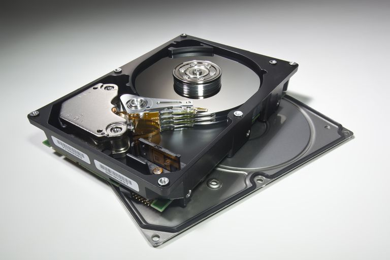 Internal hard drive. Interior of contemporary, multi-platter, multigigabyte hard disk drive