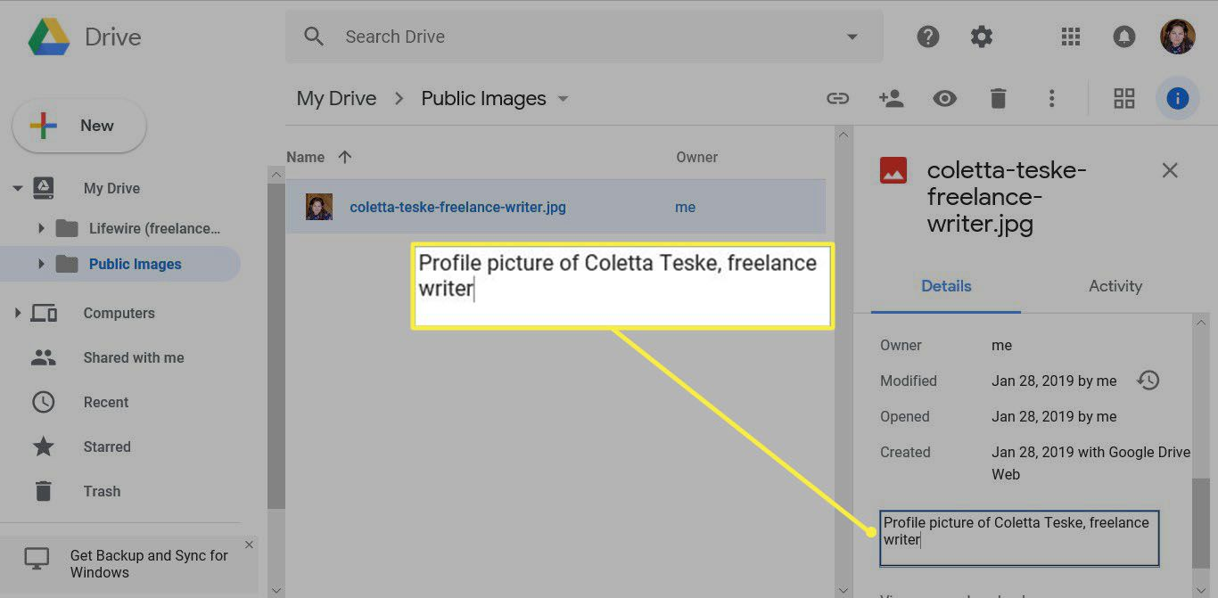 an example description used to upload image on Google online