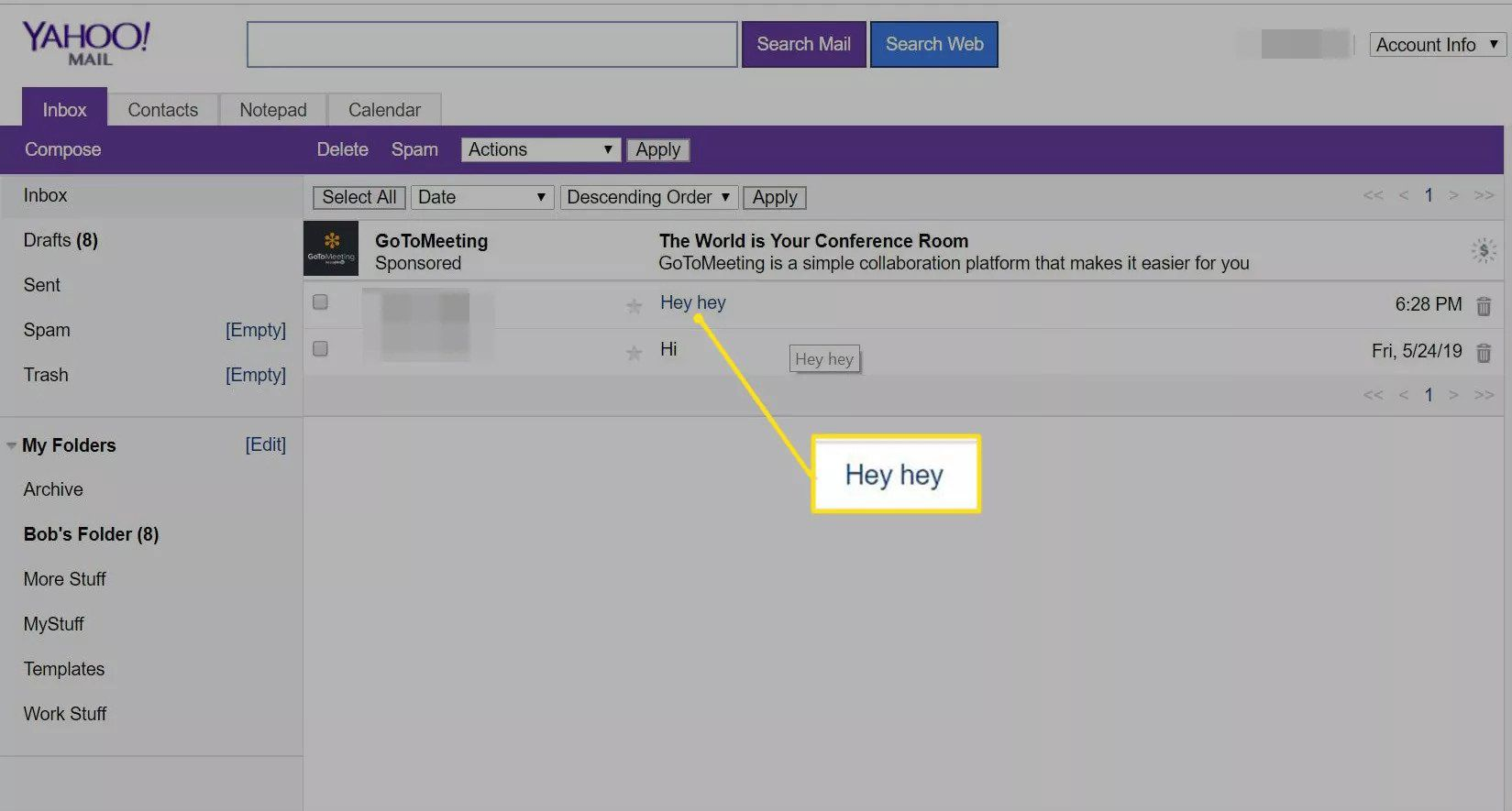 Selected email message in Yahoo Mail Basic