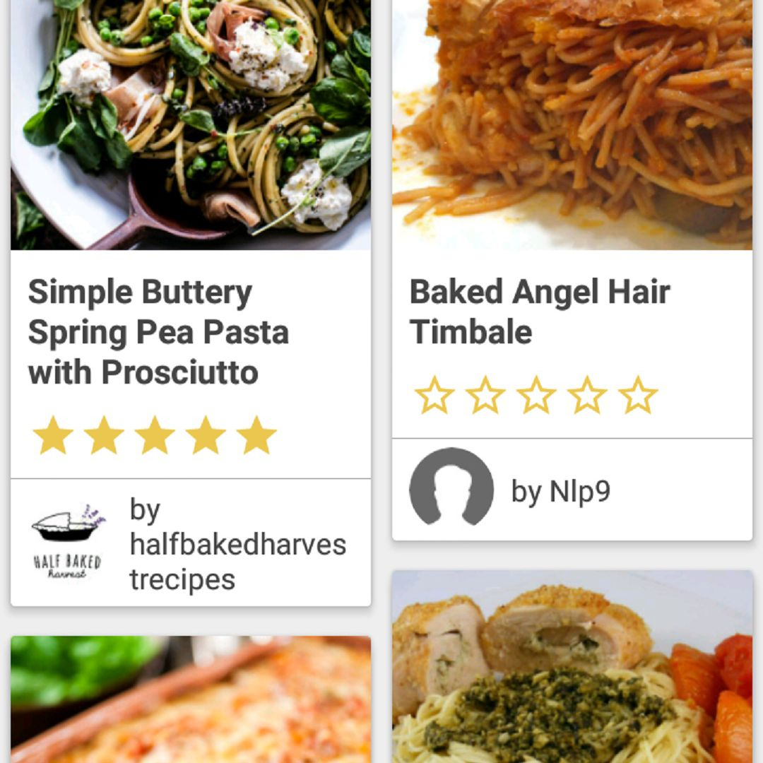 A screenshot of the BigOven app, showing the search results after we searched for recipes that included angel hair pasta and eggs.