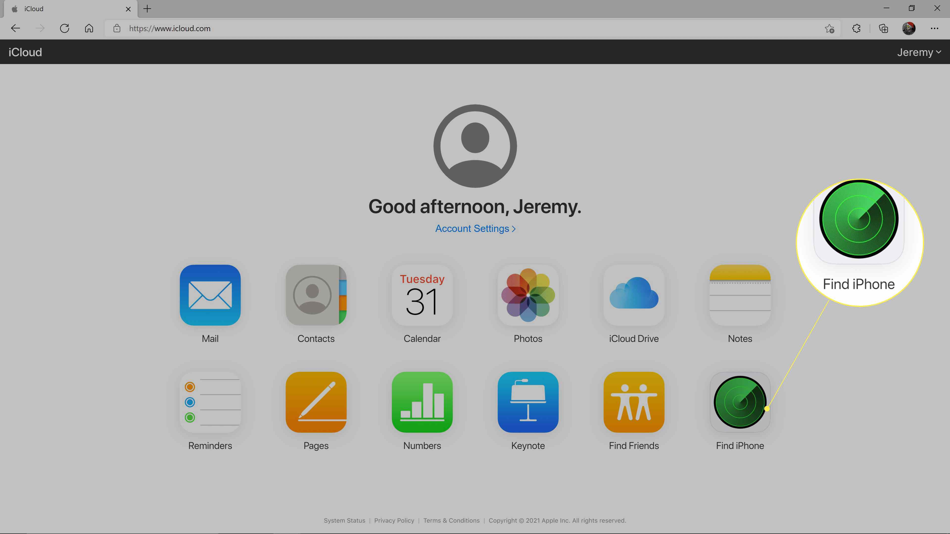 Find iPhone highlighted on the iCloud website.