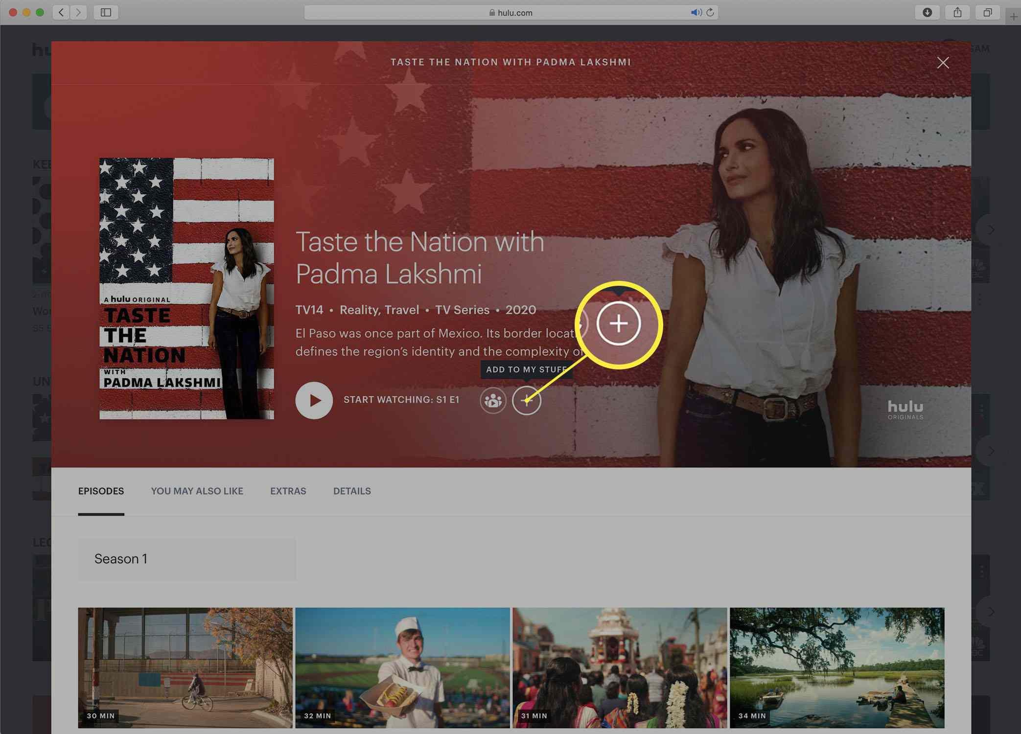 Screenshot of a Hulu series detail page.