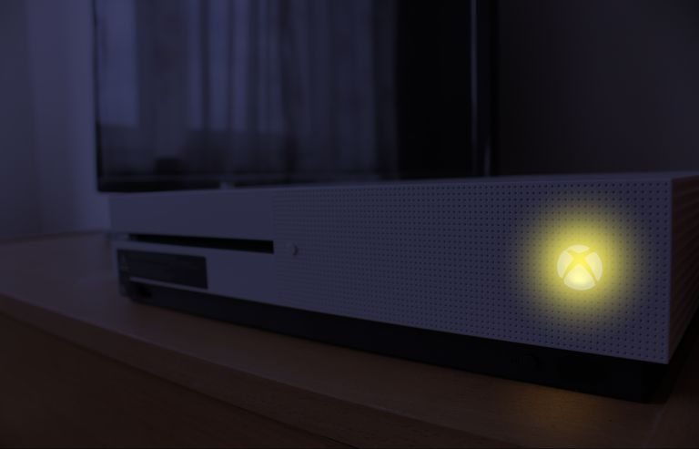 An Xbox One that has turned itself on at night.