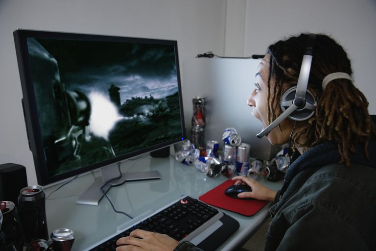 Screen shot of a woman playing a computer game