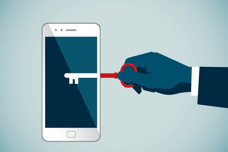 Animation of a hand holding a key unlocking a cell phone