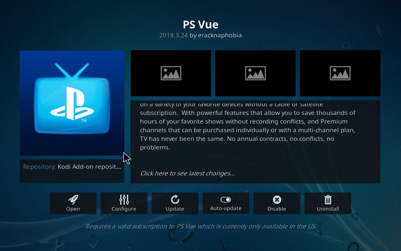 Playstation Vue Kodi Add-on