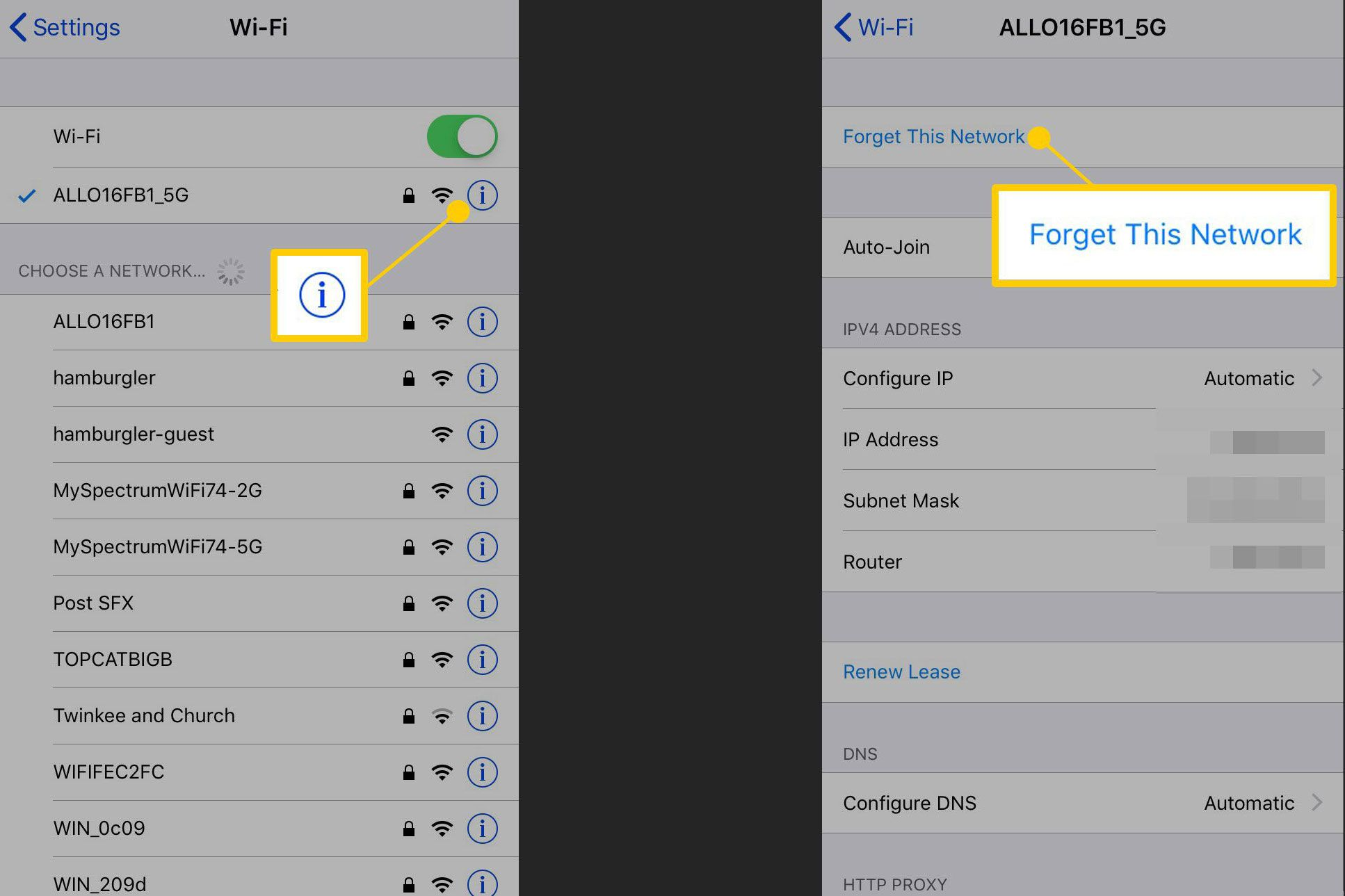 Screenshots of an iPhone showing the Wi-Fi info icon and the Forget This Network command