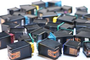 Assortment of small ink printer cartridges to recycle