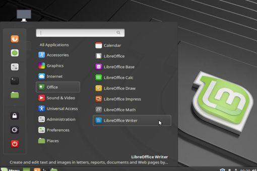 The Linux Mint Desktop's Main Menu