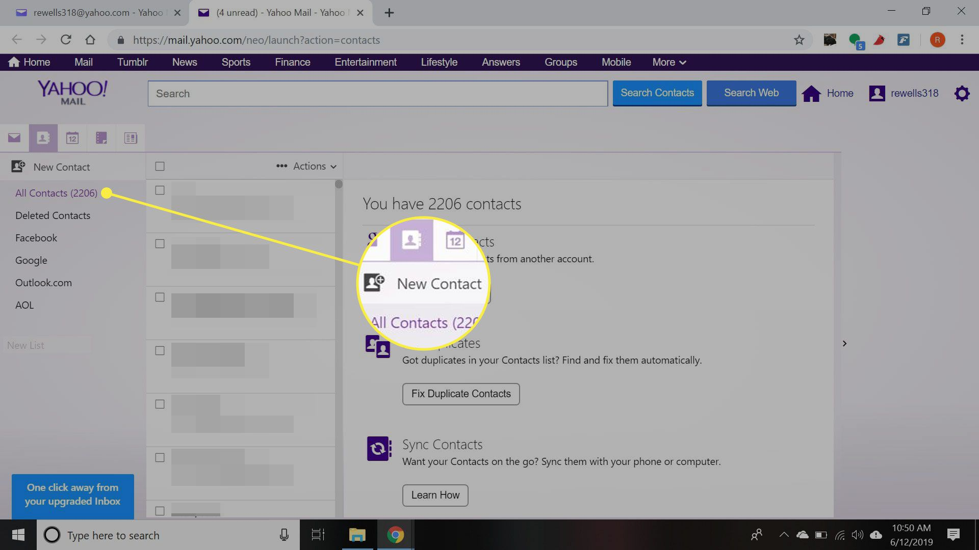 Yahoo Mail's Contacts page with the New Contact button highlighted