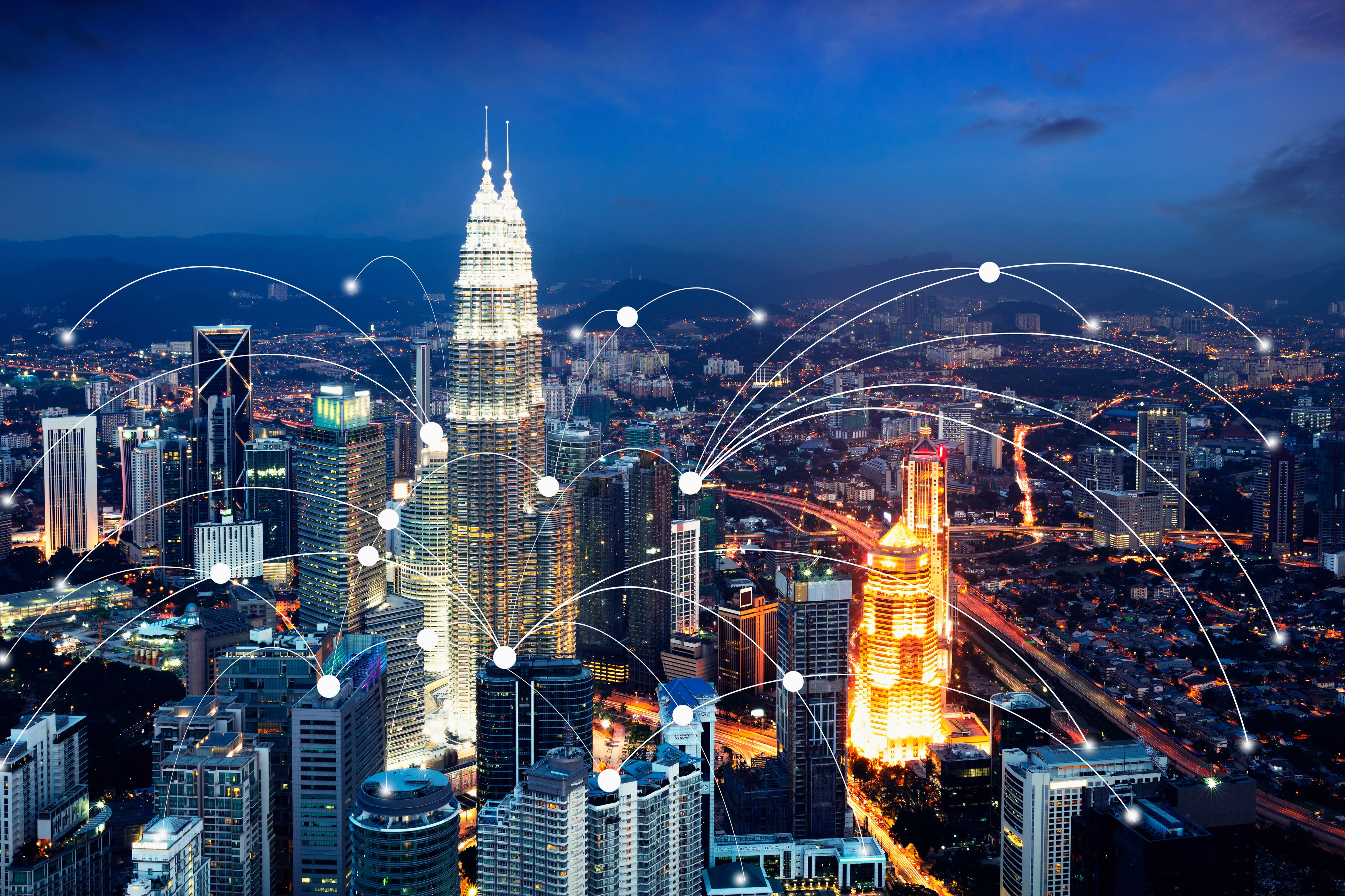 Wifi icon and city scape network connection concept, Smart city