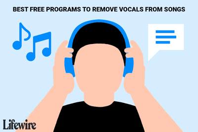 An illustration of a person listening to music with the vocals and music separated.