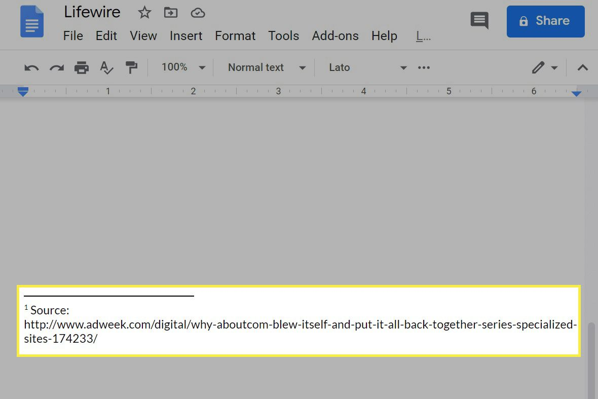 A footnote in Google Docs.