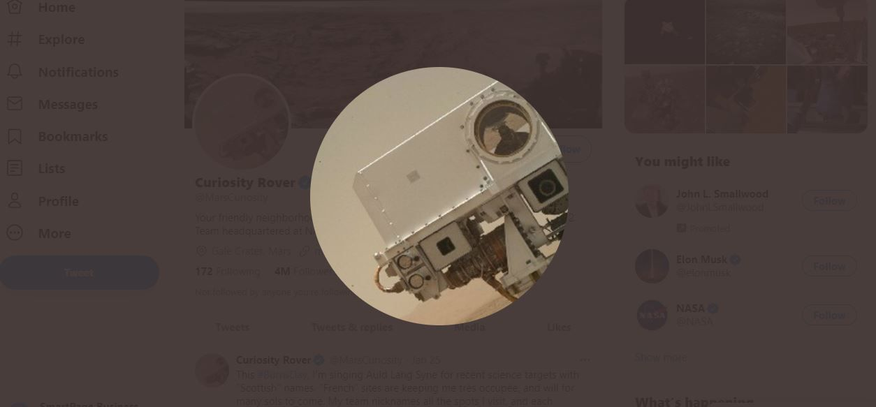 Curiosity Rover on Twitter