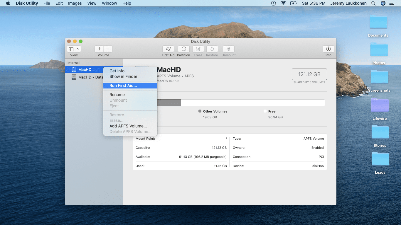A screenshot showing First Aid on macOS.