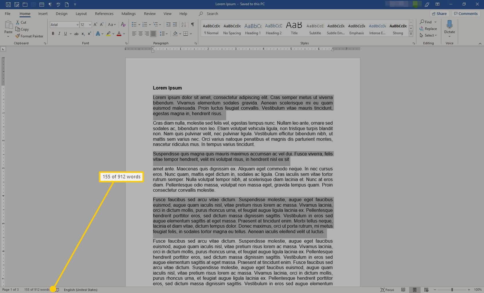 A document in Word with the word count of selected text highlighted