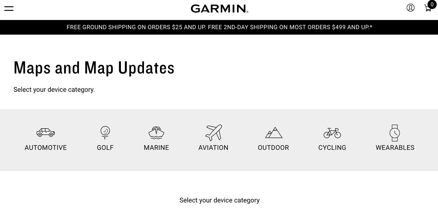 Garmin Maps and Map Updates web page
