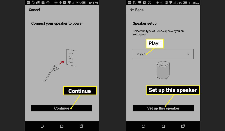 Sonos Setup Power and Device ID screens