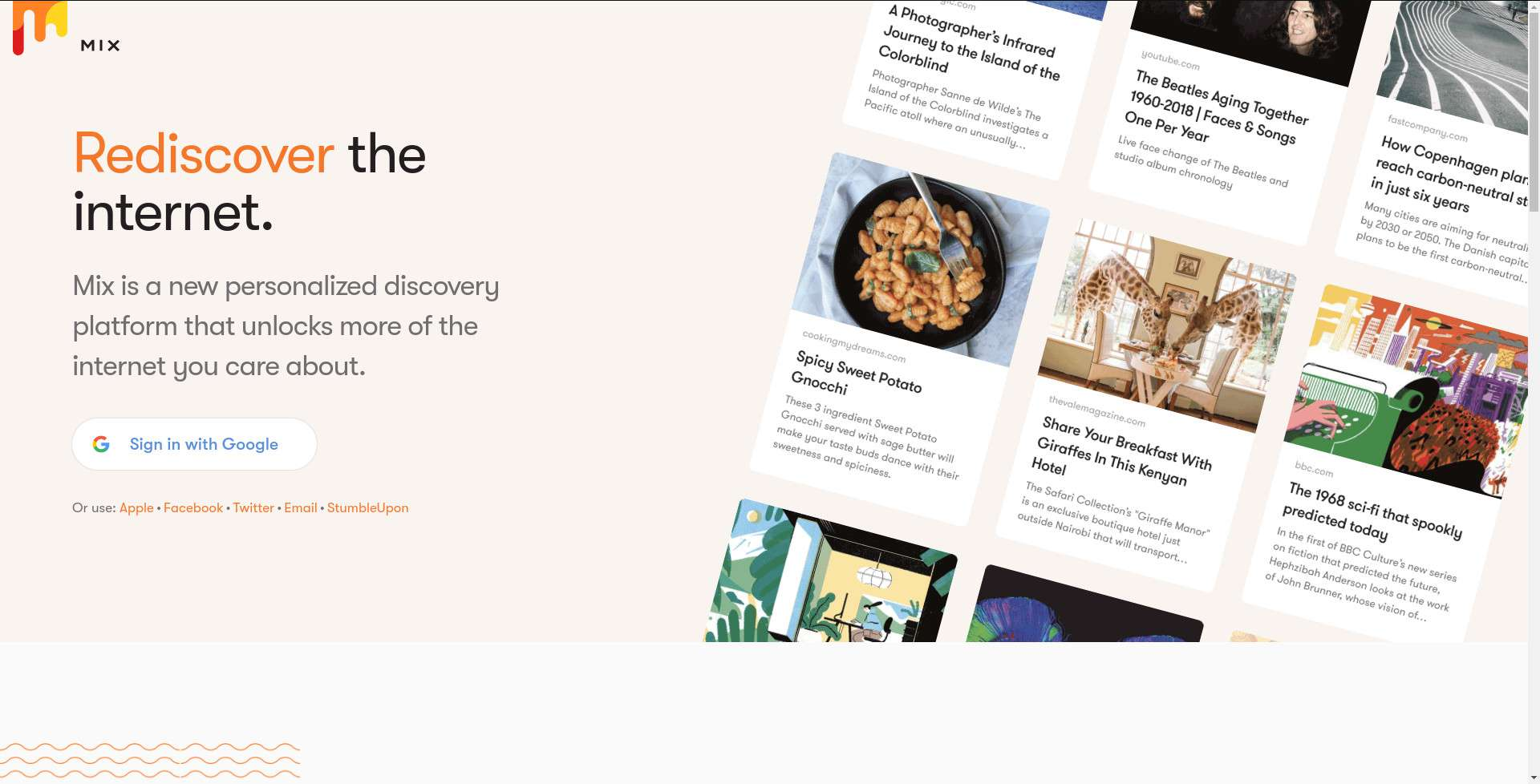Mix homepage