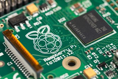 Close-Up of a Raspberry Pi circuit board