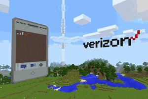 A Minecraft screen showing Verizon cell tower, display and logo