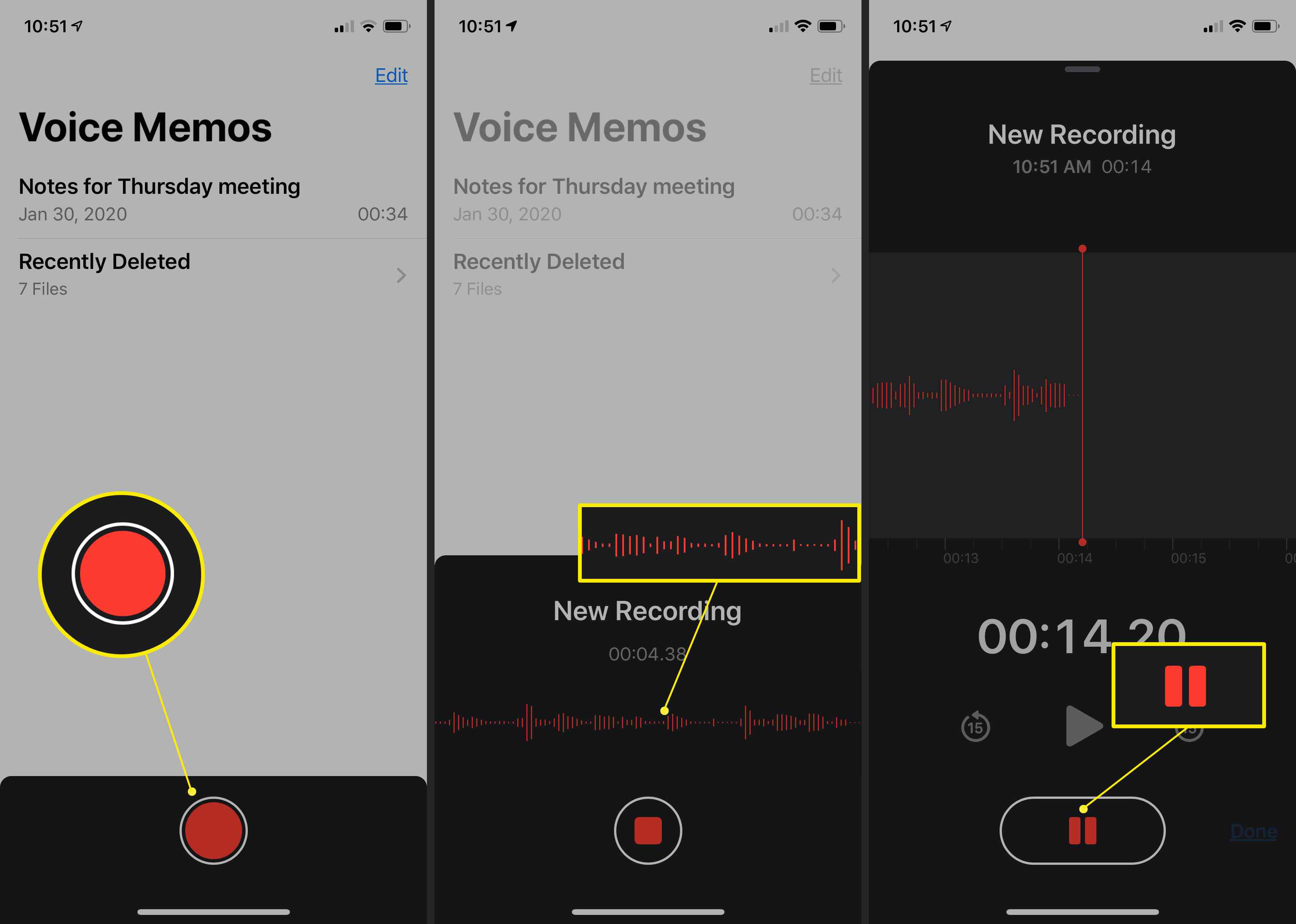 Voice Memos app on the iPhone showng new recording