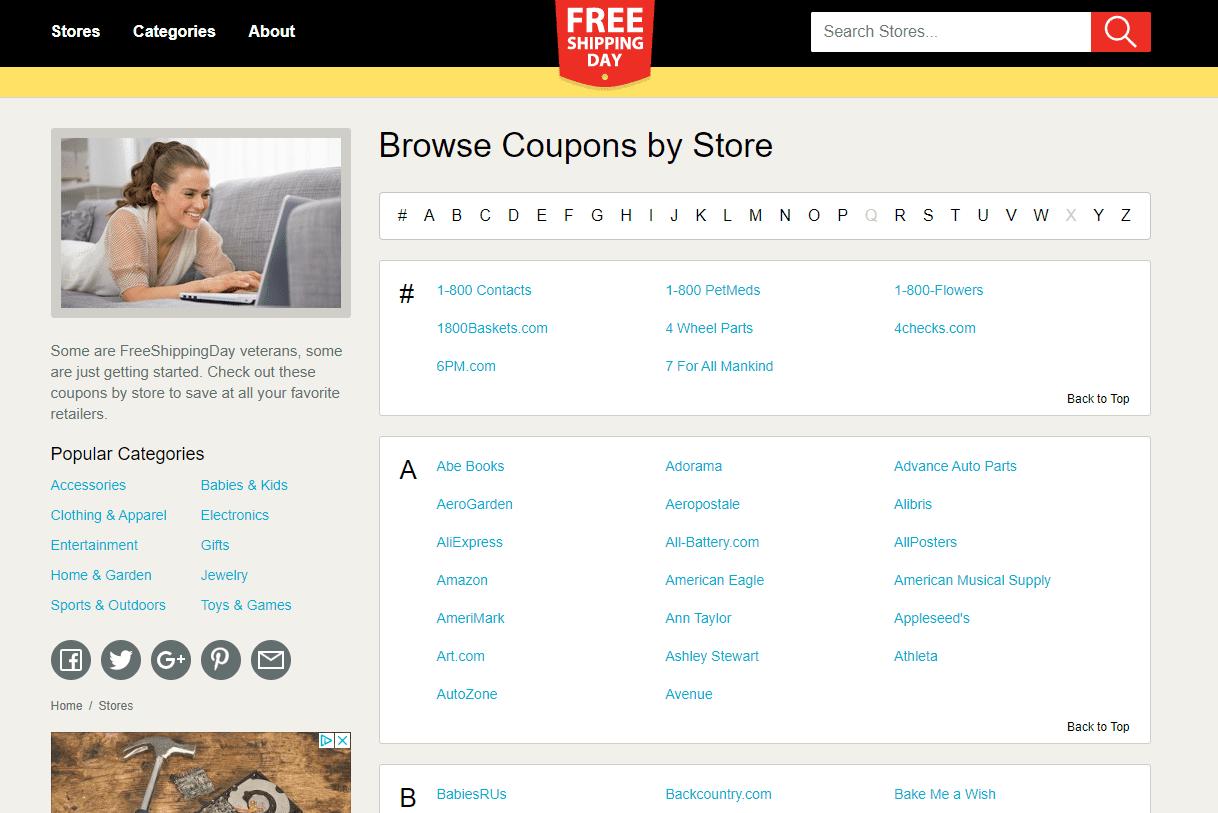 Freeshippingday.com store listing
