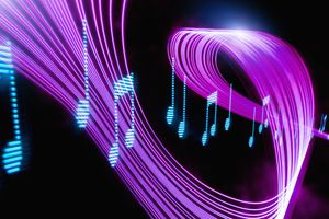 Digital musical notes with neon light curves