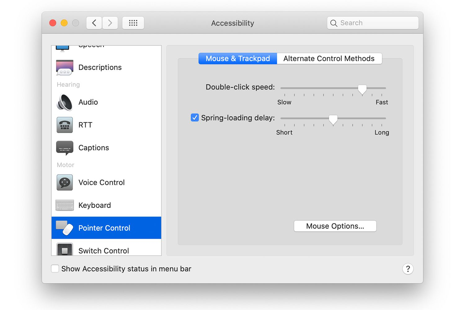 Pointer control in Mac system preferences