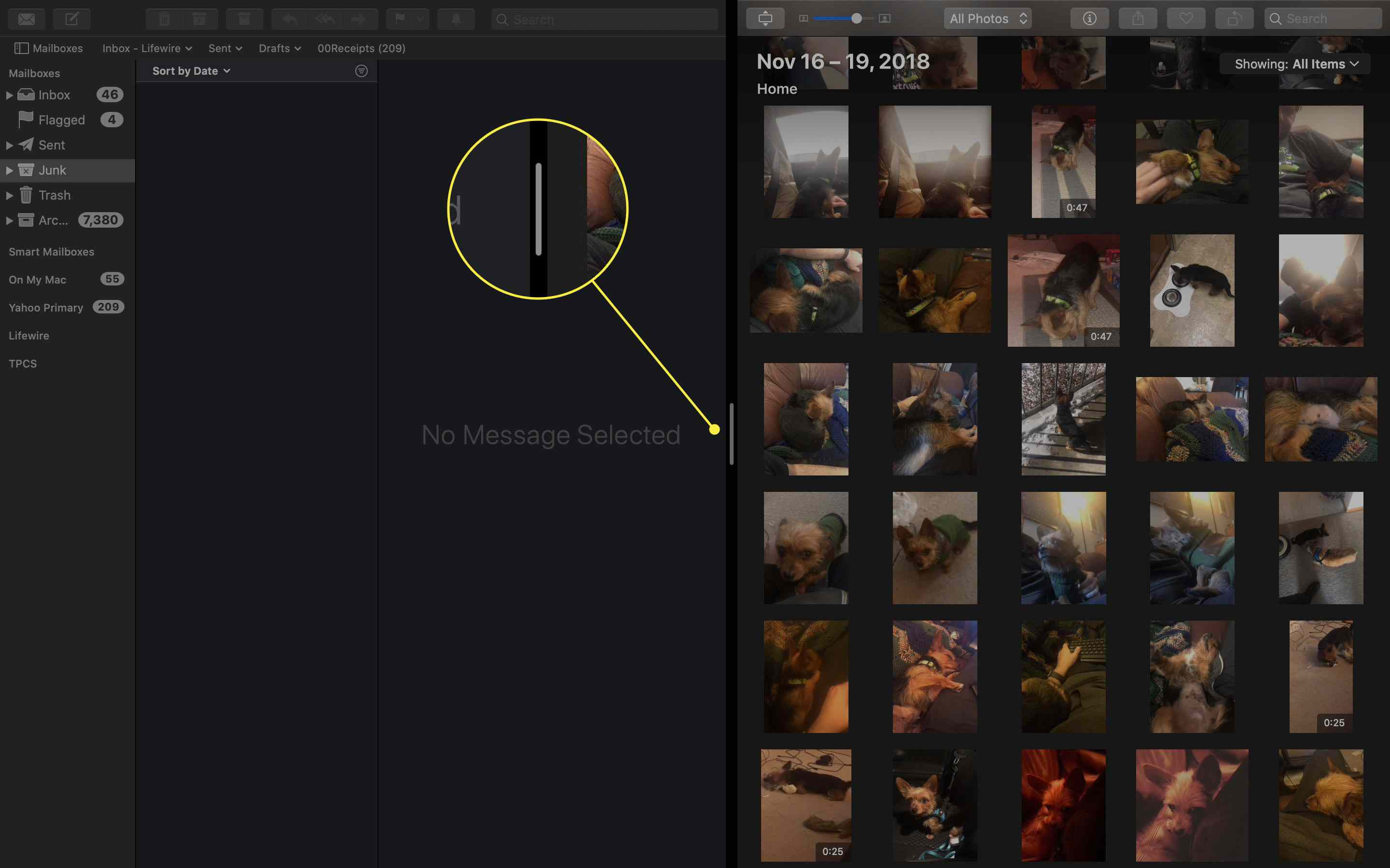 The resize handle in Split View