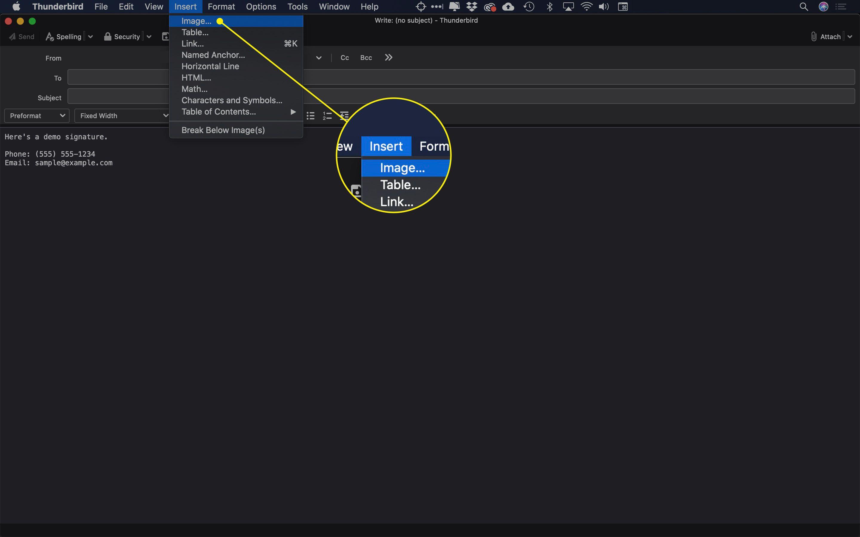 The Insert Image command in Thunderbird