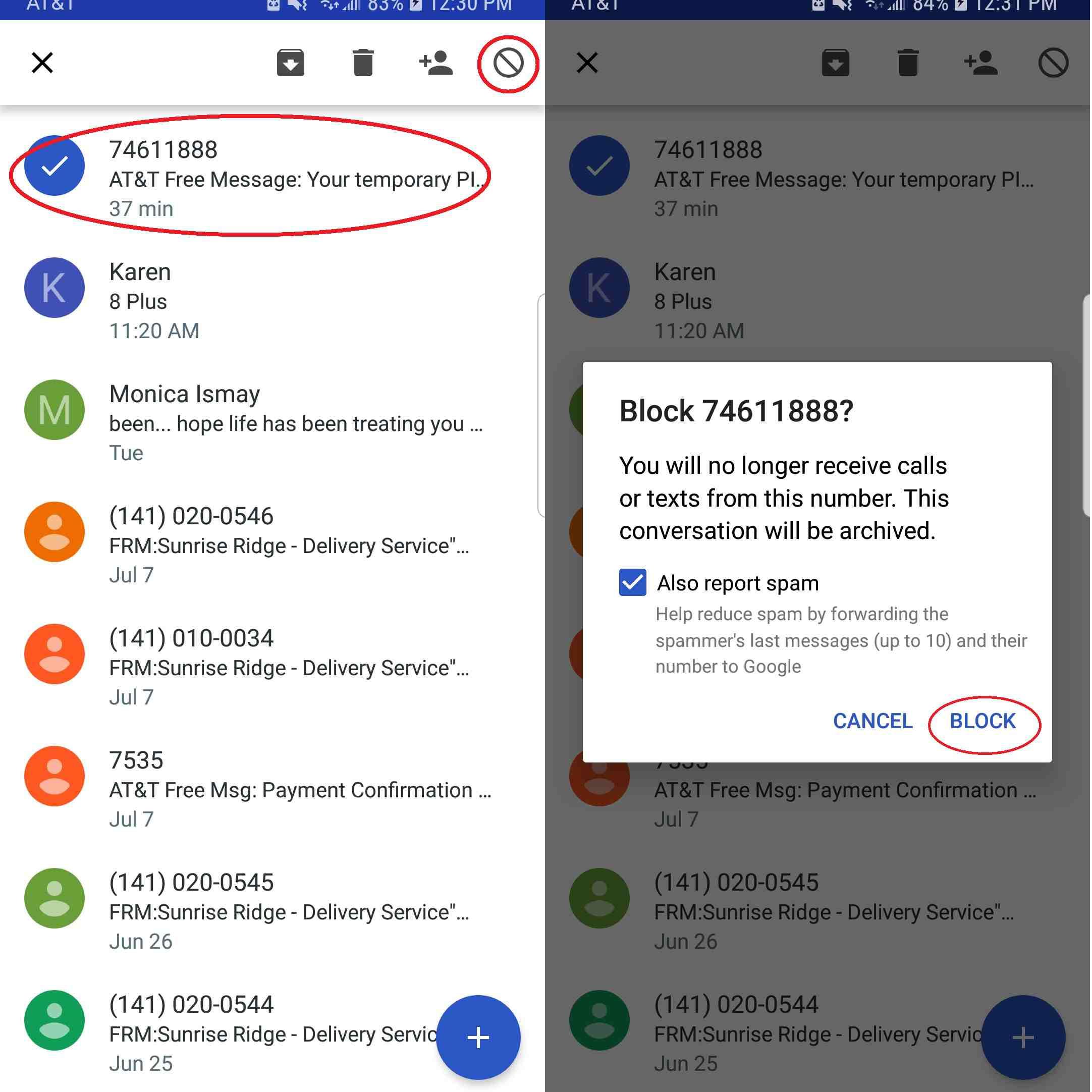 Google Blocked Text Message (Brain City)