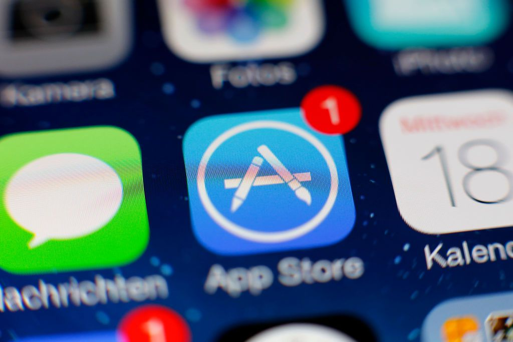 An image of the Apple App Store app icon on an iOS device screen.