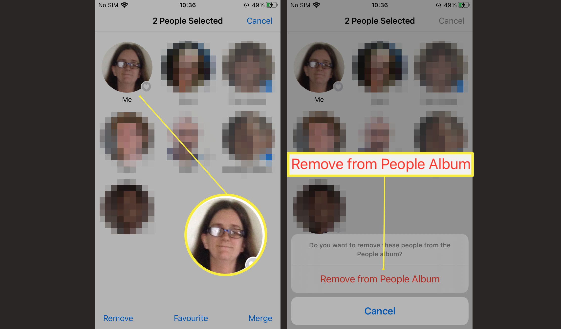 Steps required to remove someone from the People Album on Photos in iOS 15