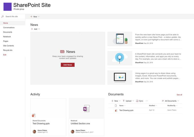 The Home Page of a SharePoint Site, including different widgets