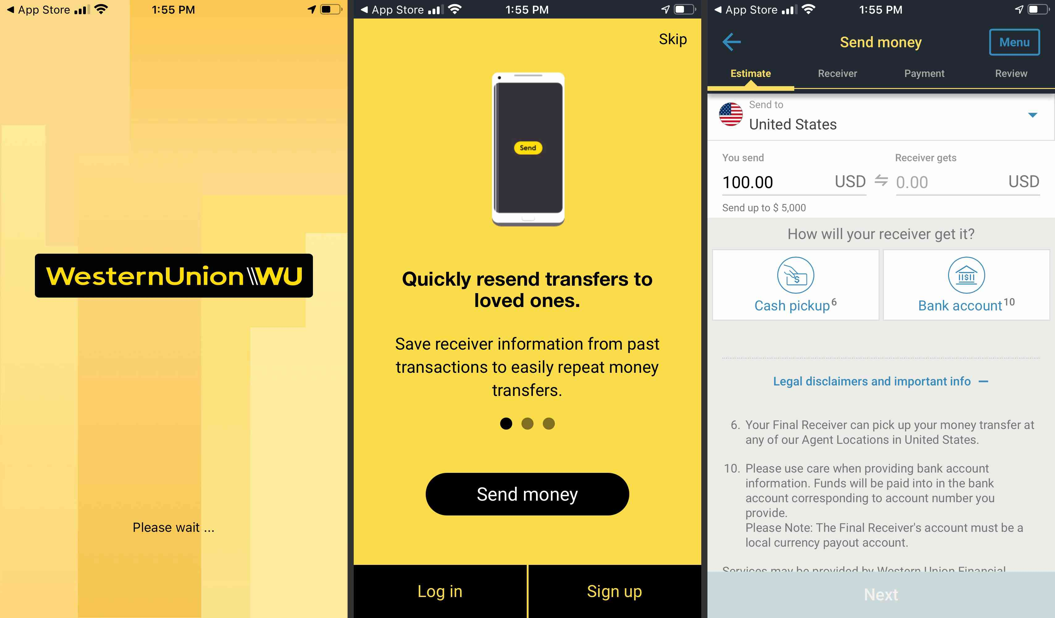 Western Union app info and transfer screens