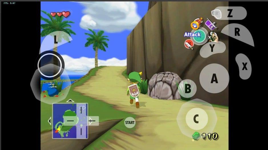 Legend of Zelda: Wind Waker running in Dolphin Emulator for Android.