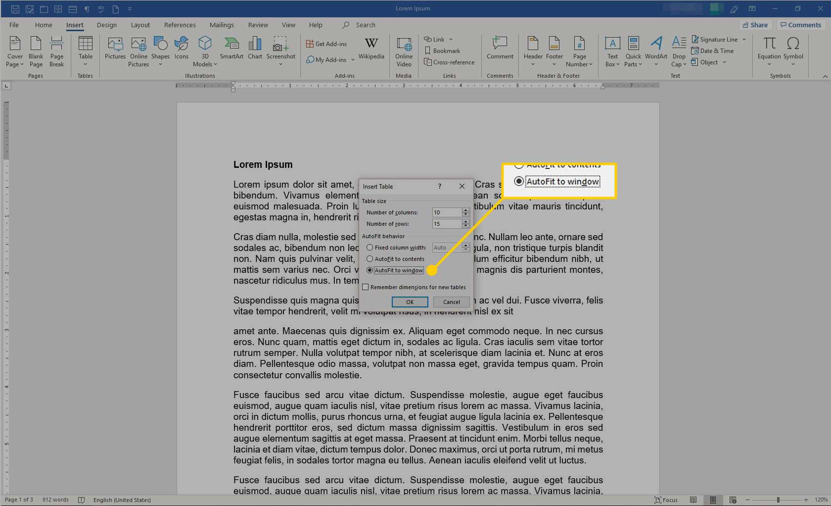 Insert Table box in Microsoft Word with the Autofit to Window option highlighted