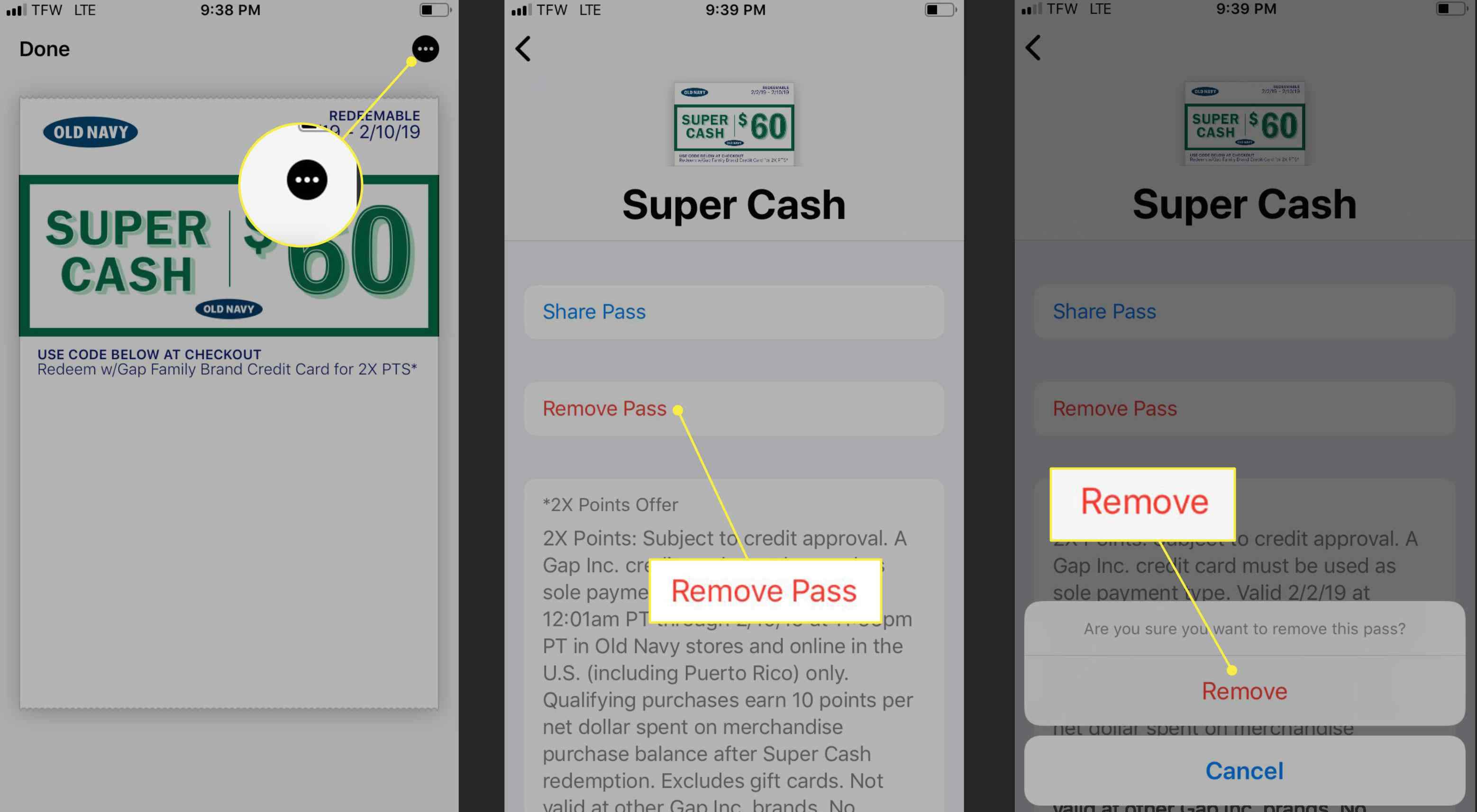 Removing a pass from Apple Wallet