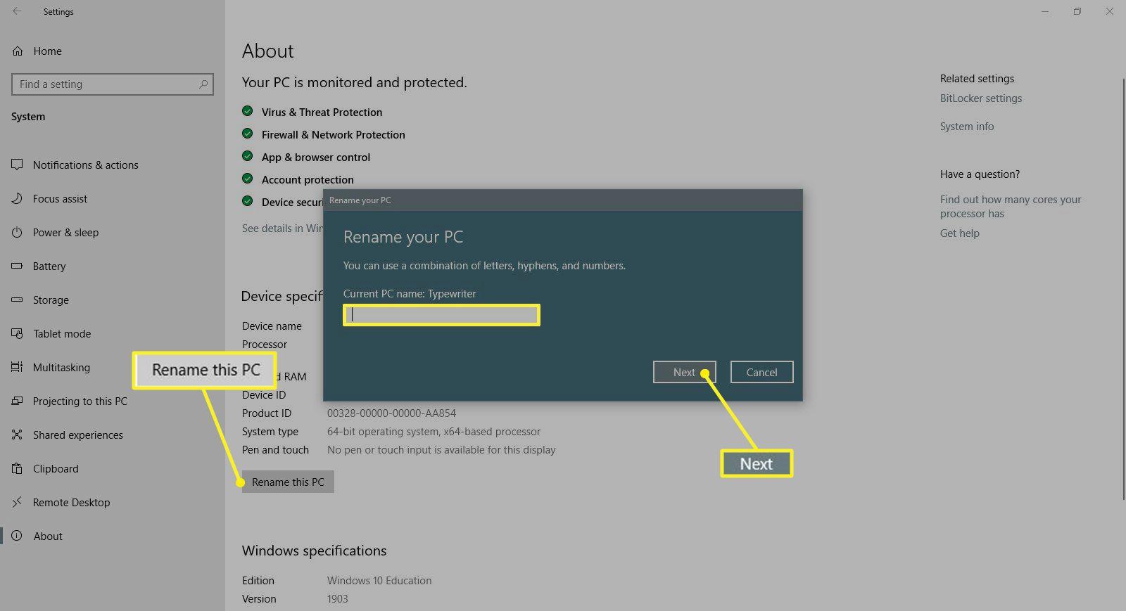 Renaming PC dialog box in Windows 10