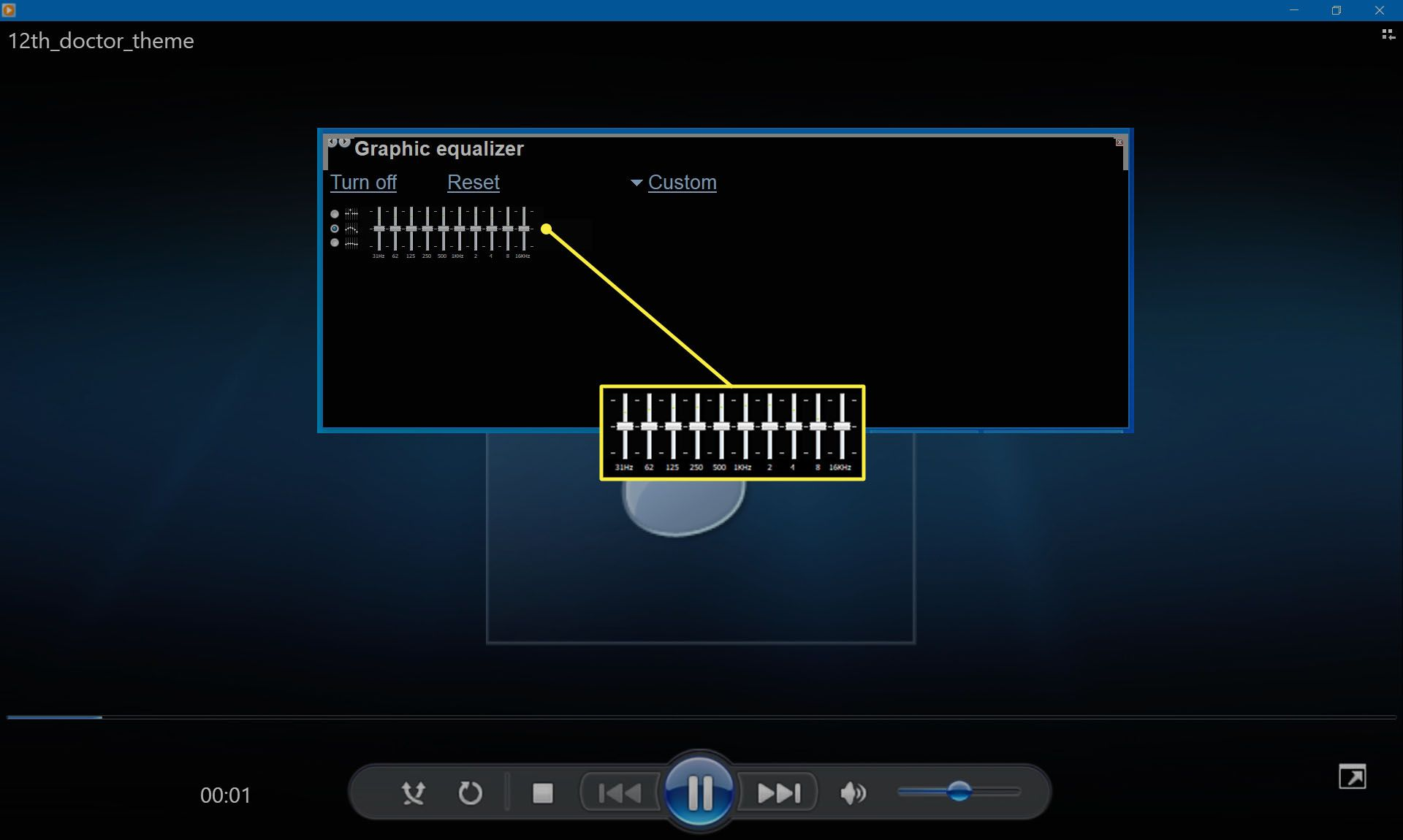 The equalizer sliders in Windows Media Player 12.