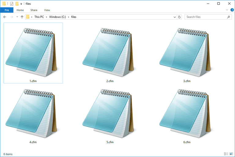 Screenshot of several CFM files in Windows 10 that open with Notepad