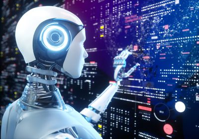 An artificially intelligent robot working on a touchscreen full of data.