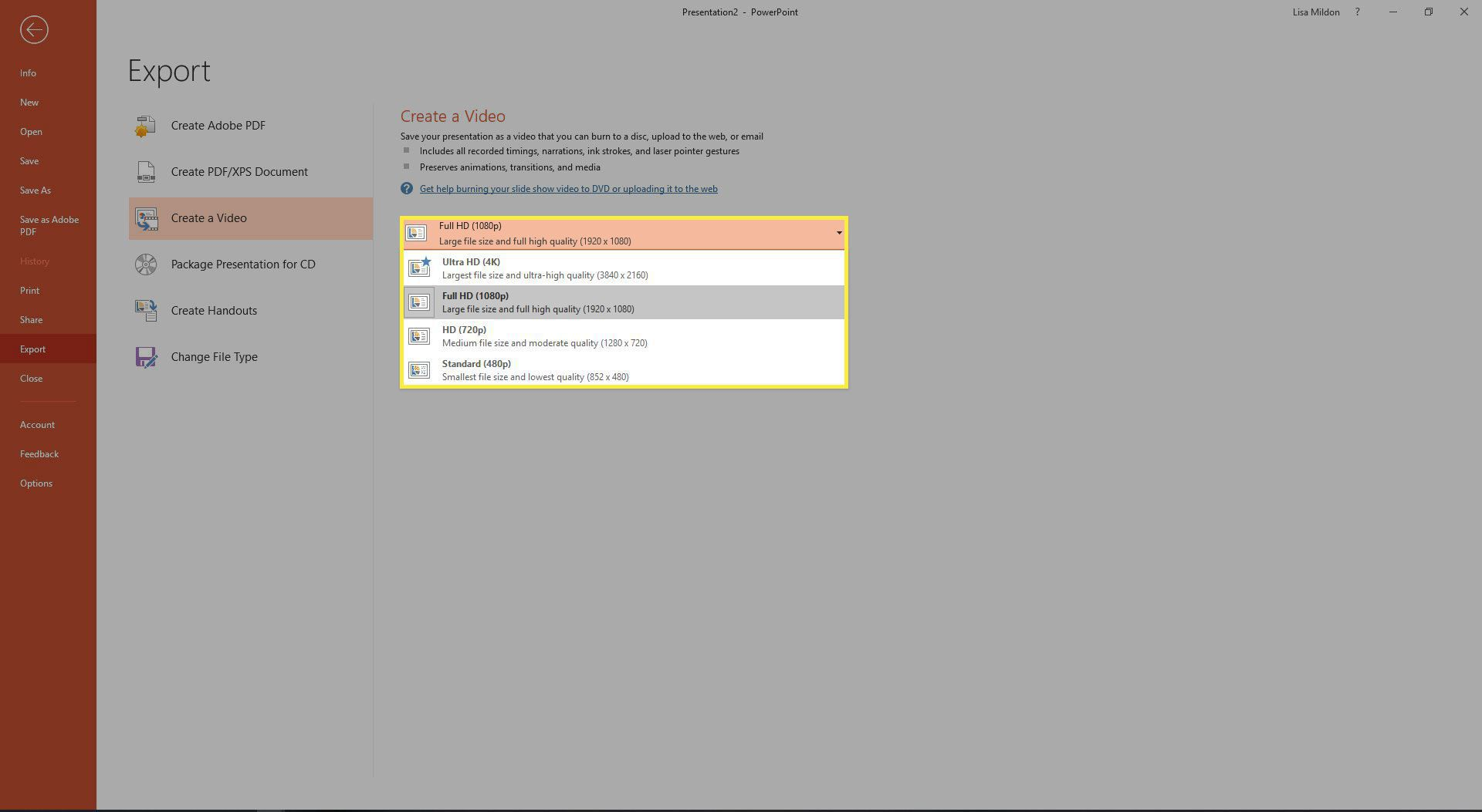 Video quality settings in PowerPoint