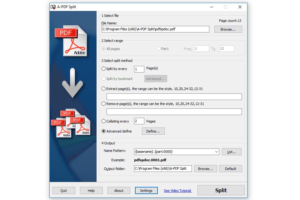 A-PDF Split program in Windows 10