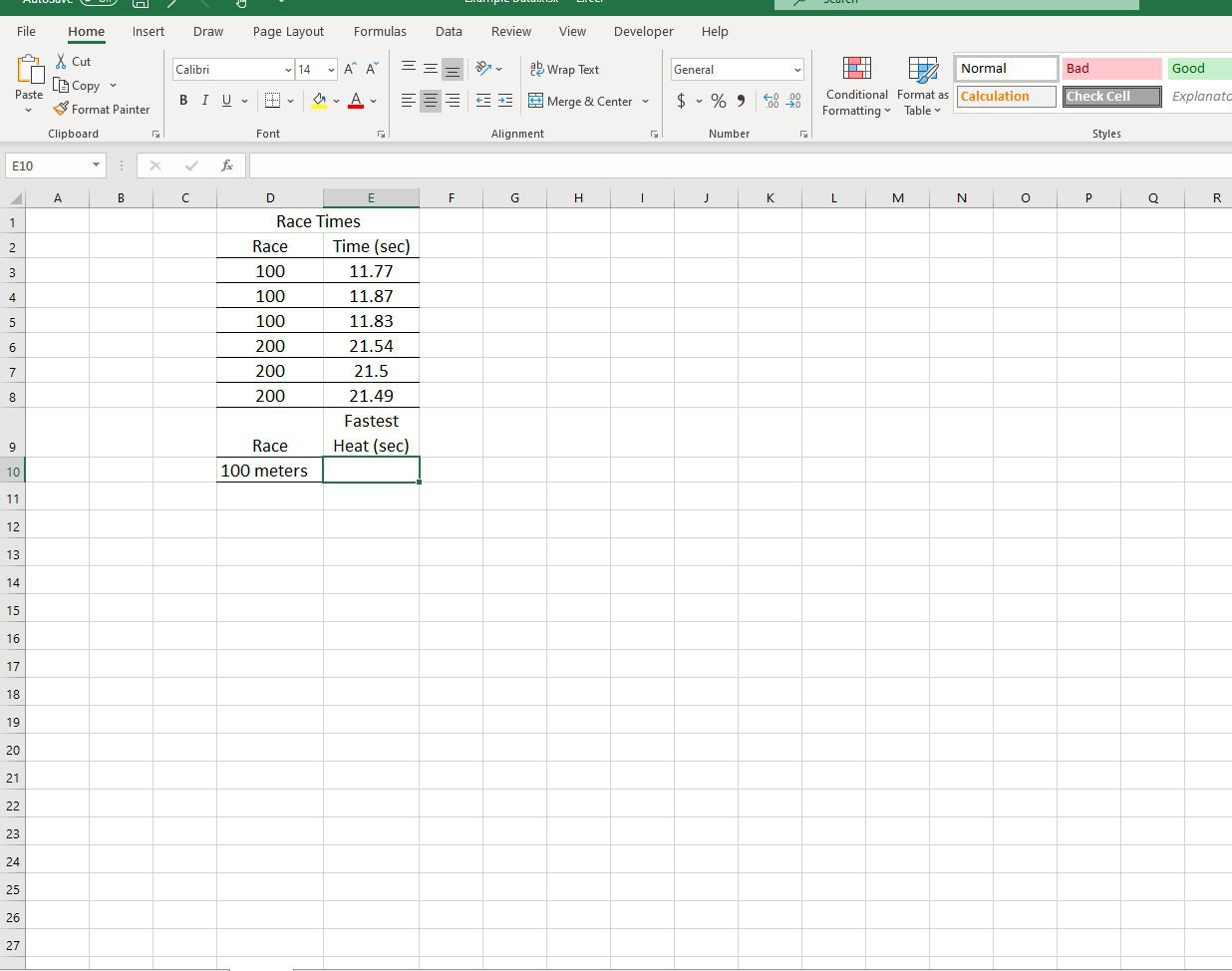 Race Times data entered in Excel