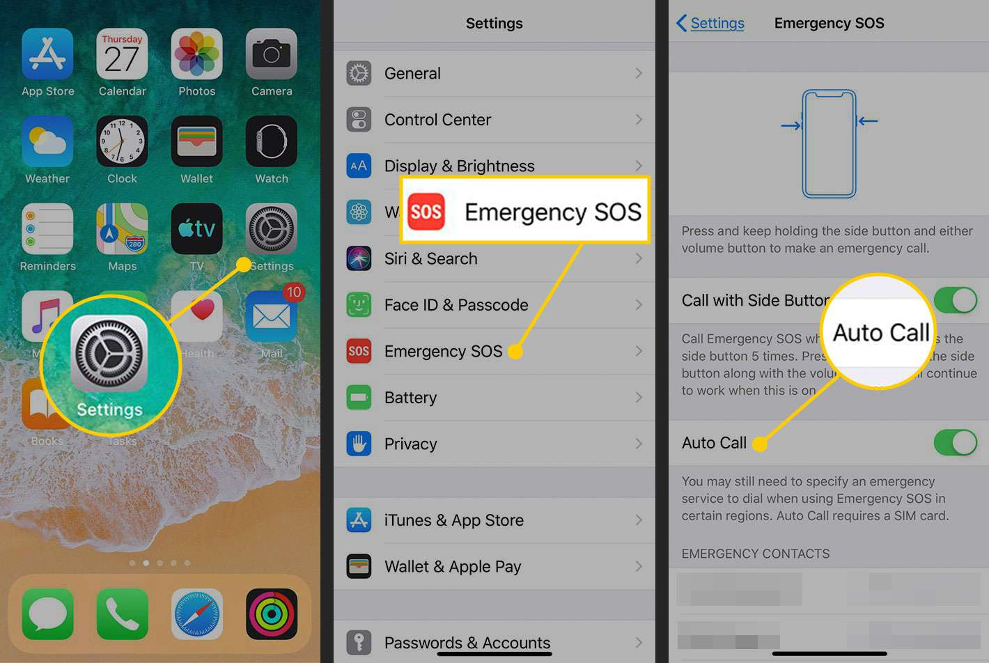 Turning off Emergency SOS on an iPhone