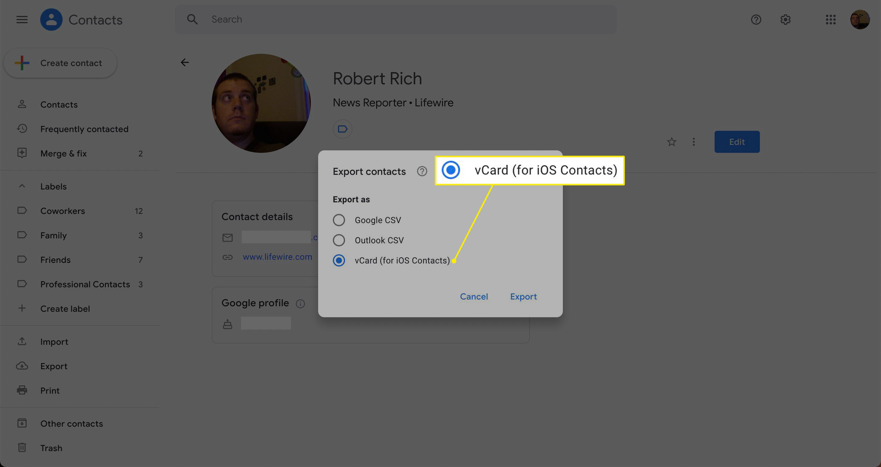 vCard highlighted in Gmail contacts