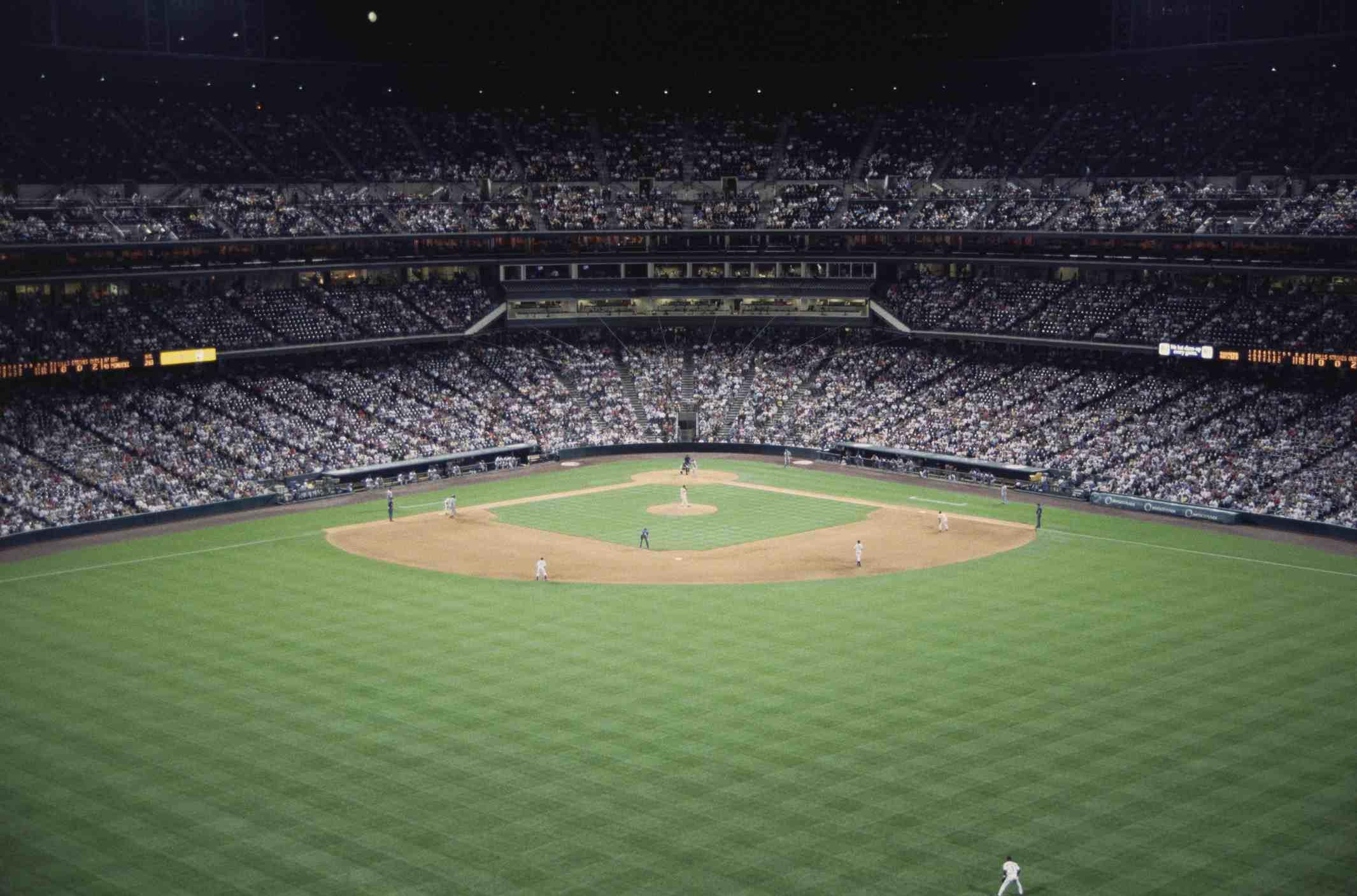 Wide angle shot of baseball